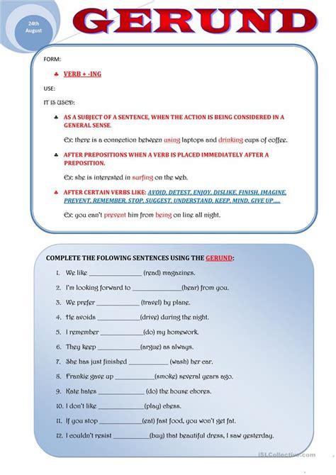 Gerund Worksheet by Gerund Worksheet Free Esl Printable Worksheets Made By