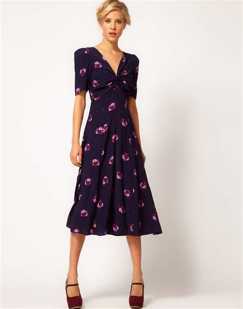 asos collection tea dress in floral print with twist front