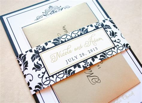 black and gold wedding invitations etsy gold wedding invitations black damask wedding invitations wedding invitations black