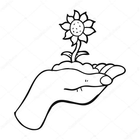 imagenes blanco y negro manos flor blanco y negro de dibujos animados en la palma de la