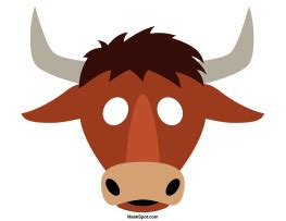 bull mask templates including  coloring page version
