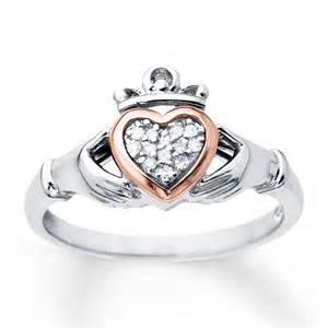 claddagh rings claddagh ring 1 20 ct tw diamonds sterling silver 10k gold
