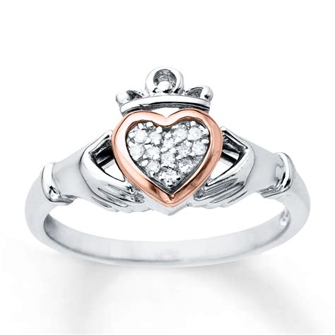 claddagh ring 1 20 ct tw diamonds sterling silver