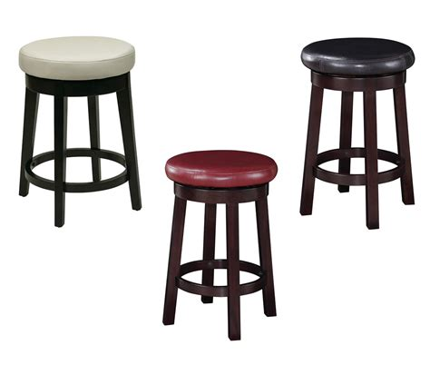 leather and wood bar stools 24 inch high seat round barstool faux leather wood stool