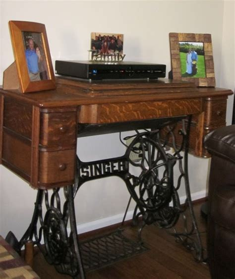 used sewing machine table antique sewing machine used as end table for the home