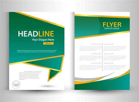 brochure ai template flyer template design with green and white color free