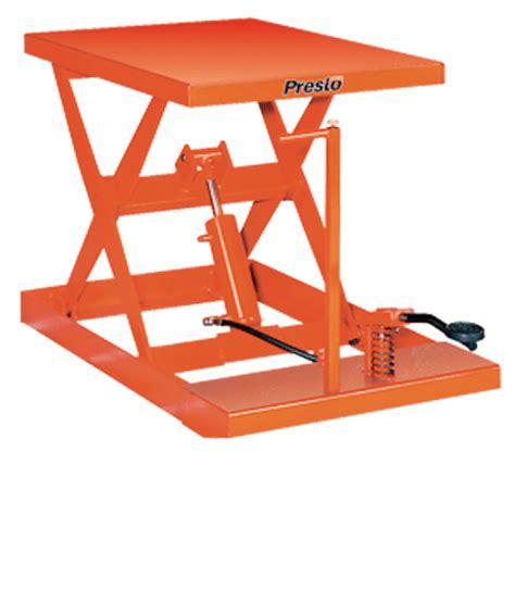 manual lift table presto lifts light duty manual scissor lift table wxf24 10 wxf24 series 1000 lbs capacity