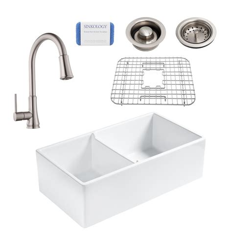 Home Depot Farmhouse Sink by Sinkology All In One Farmhouse Apron Fireclay 33 In