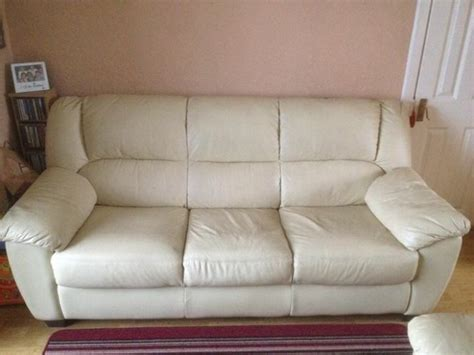 3 seater cream leather sofa cream leather sofa 32 seater for sale in cabra dublin
