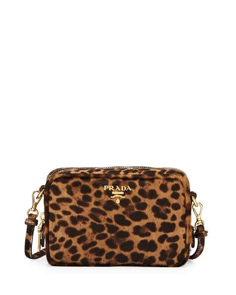 lyst prada leopard print calf hair mini crossbody bag