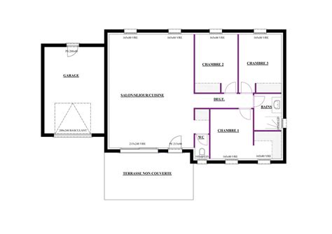 maison 2 chambres plan maison 80m2 2 chambres