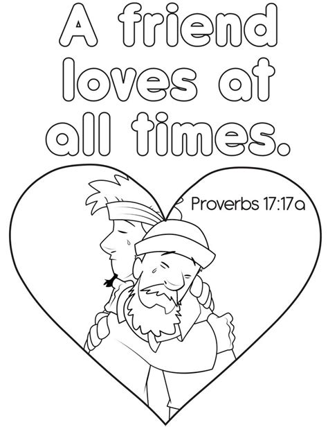 A Friend At All Times Coloring Page free coloring pages of proverbs 17 17
