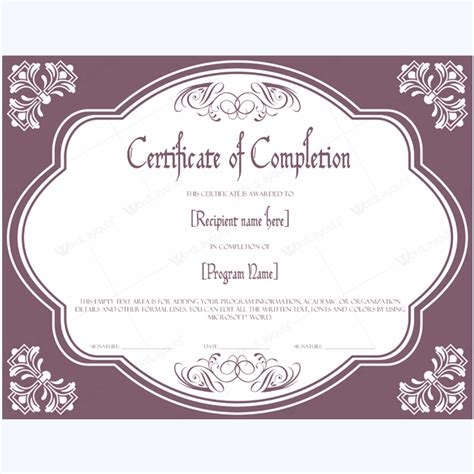 Certificate Of Completion 09 Word Layouts Microsoft Certificate Template