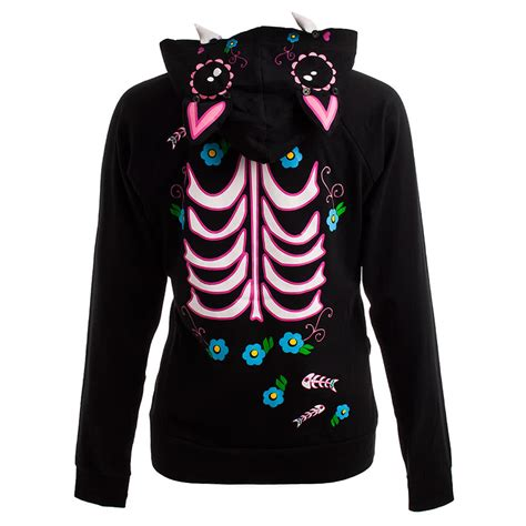 Cat Hoodie jawbreaker hoodies black sugar cat skull hoody top hooded jumper sweater ebay