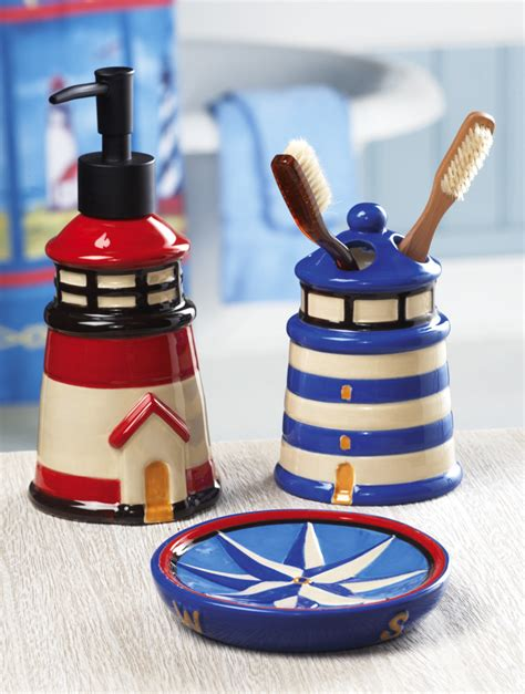 Nautical Bathroom Accessories Sets 3 Pc Oceanside Lighthouse Nautical Bathroom Accessory Set Ebay