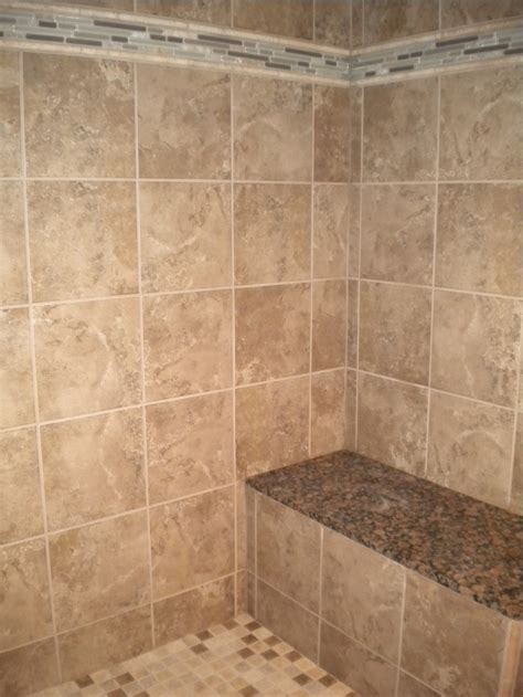 tile showers with bench new tile and granite on the shower bench bathroom ideas
