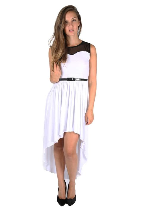 Wst 9529 White Lace Belted Dress 1 womens lace mesh high low dip hem assymetric belted