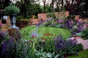 Purple Flower Garden Beautiful Lawn And Flower Garden Plant Flower Stock Photography Gardenphotos Garden