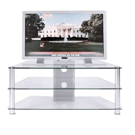 rta clear or black glass 3 shelf tv stand for 24 46 inch
