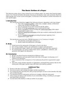 Basic Essay Exles by Basic Outline Of A Paper Free