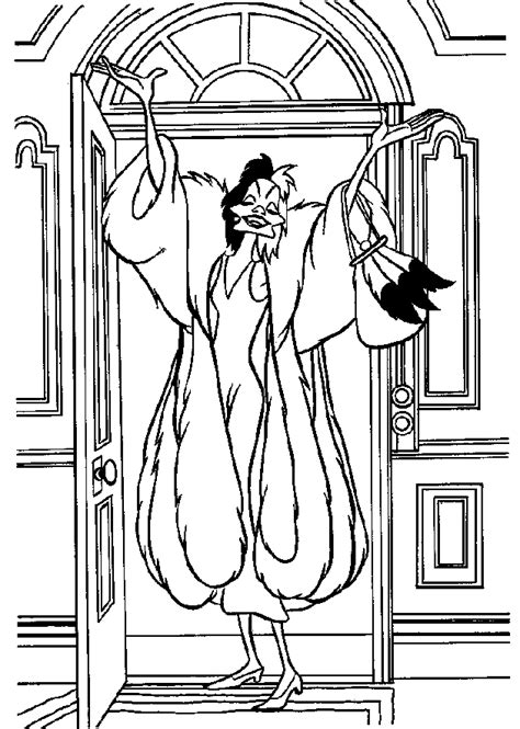 walt disney cruella de vil coloring pages to print