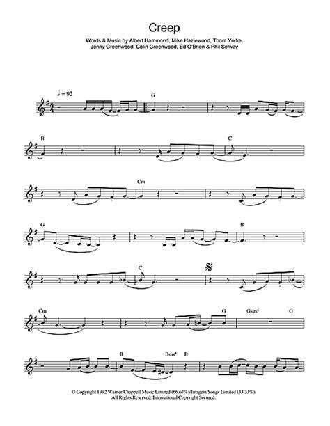 tutorial piano creep creep sheet music by radiohead flute 44852