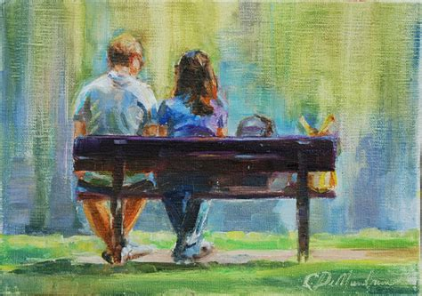 park bench painting figurative painting couple on park bench couple painting