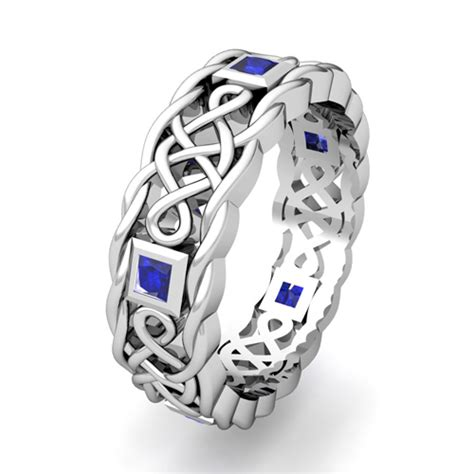 Mens Blue Sapphire Wedding Ring   Platinum Celtic Wedding Band
