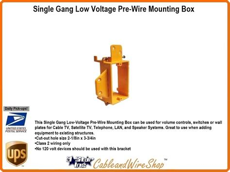 low voltage wiring box single low voltage pre wire new work mounting box