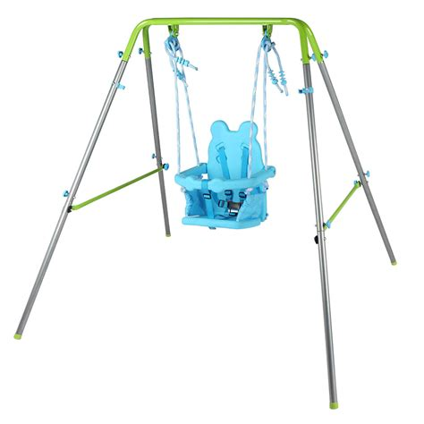 outdoor baby swing frame portable folding metal frame baby toddler swing blue with