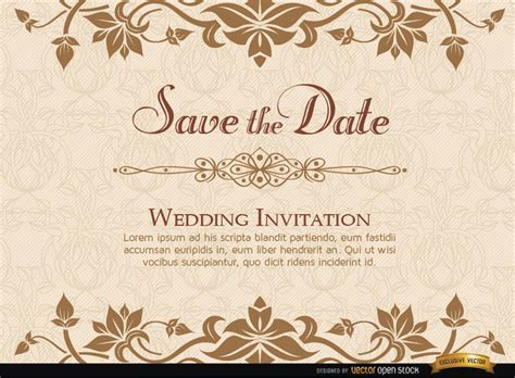 Golden Floral Wedding Invitation Template Vector Download E Invitation Templates For Wedding