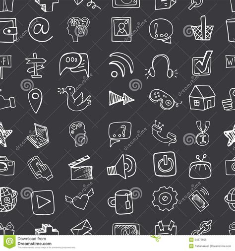 pattern background icon social media icon seamless pattern doodle sketchy stock