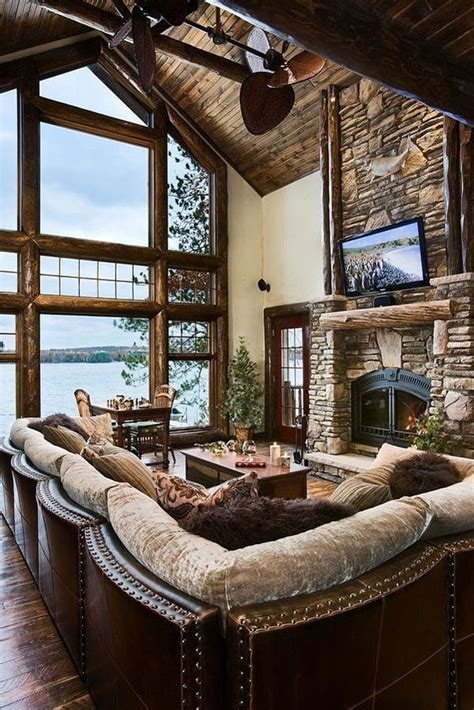 extremely cozy  rustic cabin style living rooms