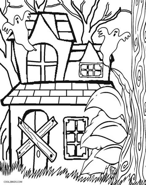 Printable Haunted House Coloring Pages For Kids Cool2bkids Haunted House Color Page