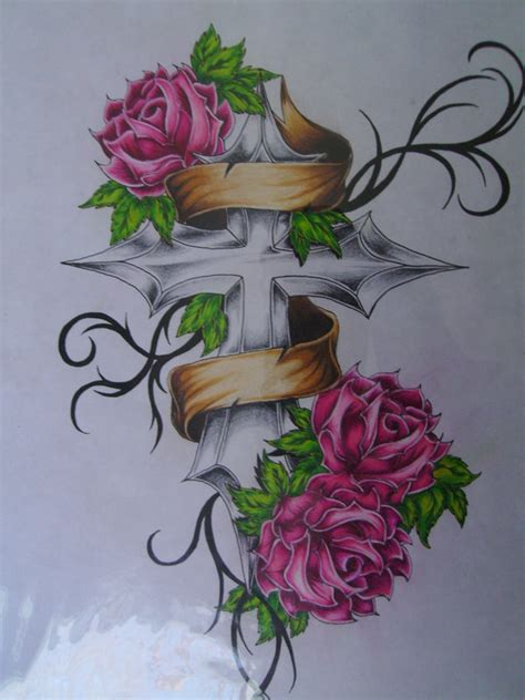 rose and banner tattoo designs tattoos of crosses with roses