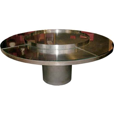 Dining Table Lazy Susan Large Quot Lazy Susan Quot Center Mirrored Glass Dining Table At 1stdibs