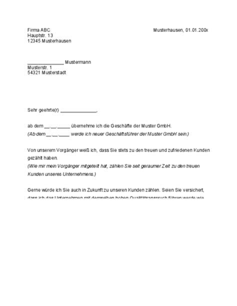 Anschreiben Neuer Mitarbeiter Gesch 228 Fts 252 Bernahme Kundeninformation Muster Jetzt Downloaden