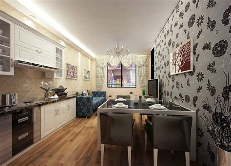 Wall For Dining Room And Kitchen Wallpaper For Kitchen Dining Room And Living Room
