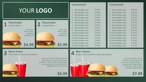 menu template powerpoint powerpoint templates free restaurant choice image