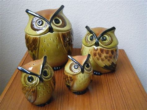 owl canisters for the kitchen 2018 metlox poppytrail ceramic owl kitchen set cookie jar canister salt pepper shakers