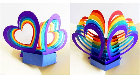 Rainbow Pop Up Card Template by Pop Up Card Hearts Learn How To Make A Popup