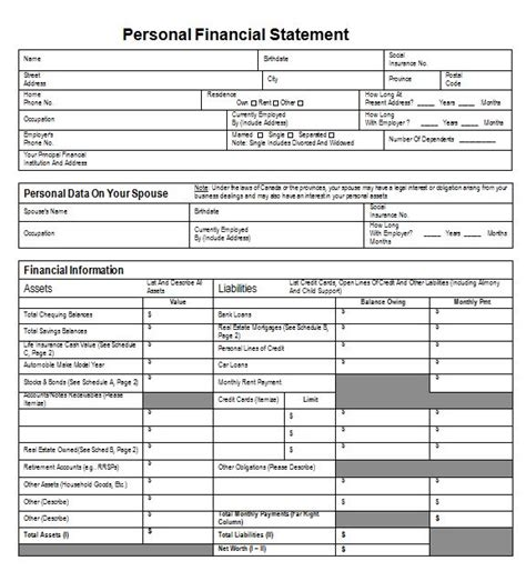 personal financial statement template financial summary template personal financial statement