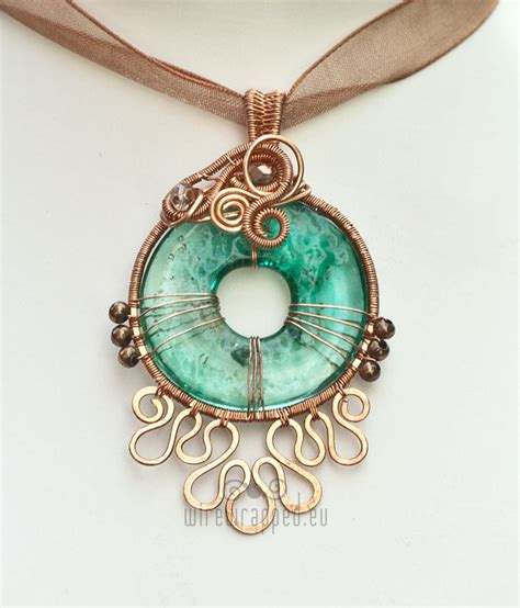handmade glass pendants wirewrapped eu