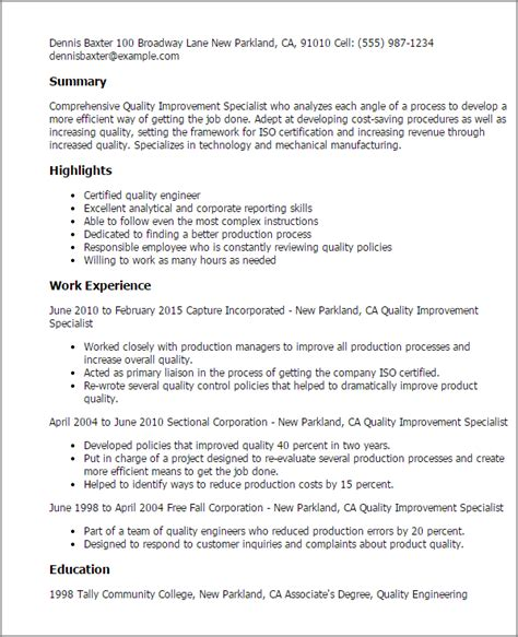 qa specialist sle resume 28 28 images 28 program