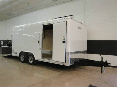 factory preview of 8 x 16 enclosed landscape trailer