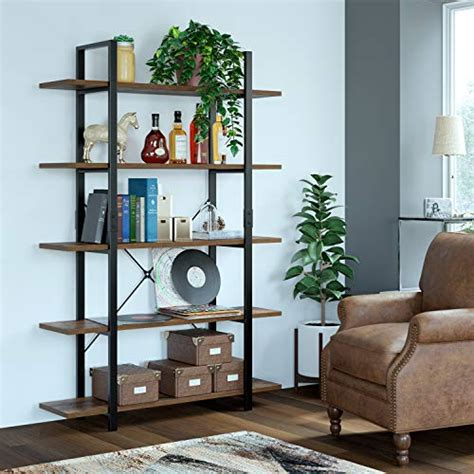 homfa bookshelf  tier industrial bookcase open storage