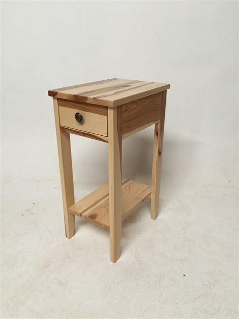 tiny side table natural hickory small chair side table w drawer the oak