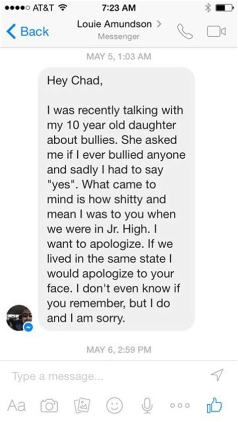 Apology Letter To Boyfriend Yahoo Former Bully Sends Powerful Apology To Classmate 20 Years Later Dailyscene