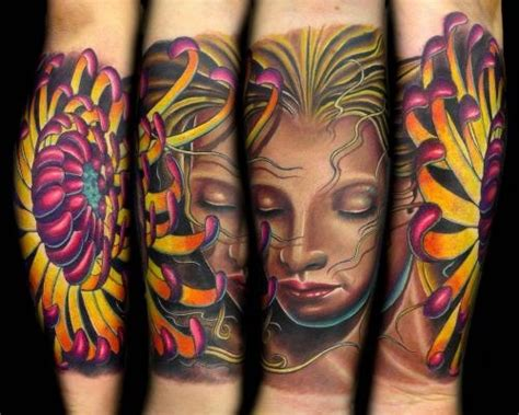 tattoo by tattooist brandon bond flower tattoos