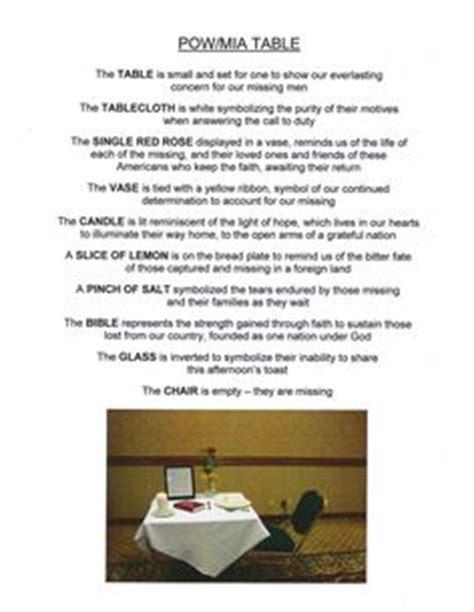 Missing Man Table Script Pin The Pow Mia Table On Pinterest